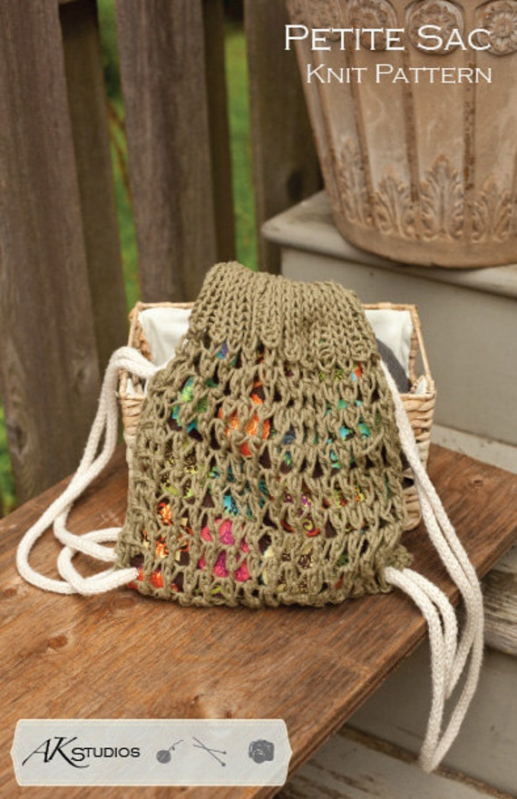Knitting Pattern For A String Bag : Knitting PATTERN draw string bag knit and sewn 10 tall