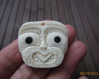 MAORI   Hand carved Tribal mask , pendant , Carved bone  , Jewelry making Supplies  S3106
