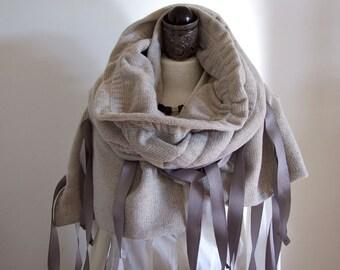 Oversized chunky scarf  modern urban caffe latte, sweatshirt fabric shawl, shrug poncho capelet gathered with gray ribbons