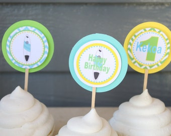 SURF'S UP Birthday or Baby Shower Cupcake Toppers 12 {One Dozen} - Party Packs Available
