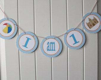 CHEVRON BEACH Happy Birthday or Baby Shower Highchair Banner I Am One - Party Packs Available