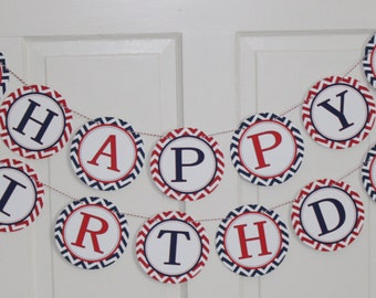 LITTLE SPORT Themed  Red Navy Themed Party Happy Birthday or Baby Shower Banner Red Navy - Party Packs Available