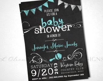 Chalkboard Baby Shower Invite - Aqua - DIY Printable