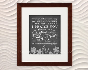 """Bible Verse """"Fearfully and Wonderfully Made"""" Nursery Art -  8x10 - Charcoal - DIY Printable - INSTANT DOWNLOAD"""