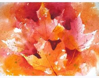 Autumn Leaves Original Watercolor Painting 7x11 Maple Leaf Art by Janet Zeh Original Art