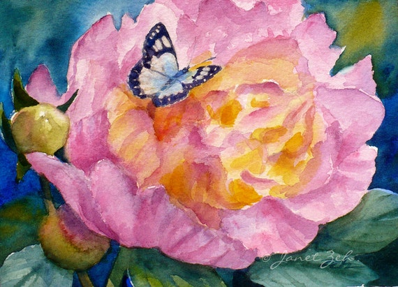 Pink Peony Painting Watercolor Flower and Butterfly Original Handmade Art Janet Zeh