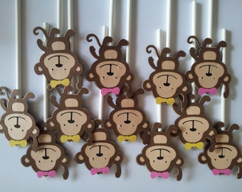 12 Monkey girls cupcake toppers