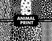 80% OFF Sale B3G1 Digital Papers Animal Print Black White Instant Download