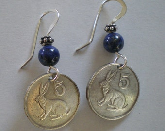 Zimbabwe African Rabbit Coin Earrings with Sterling Silver & Stone Beads