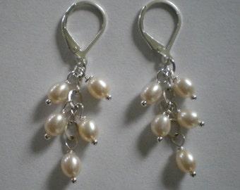 Freshwater Pearl Cluster Earrings All Sterling Silver