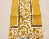 Vintage Parisian Prints Linen Hand Towel Gold Elegant Design MWT