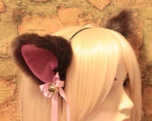 Chocolate Dark Brown inner pink CAT MOVABLE ears HEADBAND, w or w/o Ribbon n Bell,kitty cat ears headband hairband,Cosplay Party Halloween