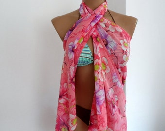 Pareo Scarf Floral Fashion Scarf Multicolor Scarf Exotic Pareo Women Scarf in Pink Green Purple