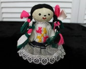 Vintage Cloth Doll Collectible TrIbal, Spanish,