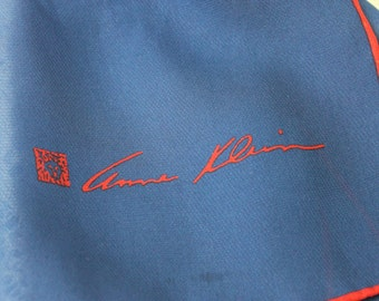 Vintage Scarf Anne Klein Long Blue Chiffon Scarf Signed