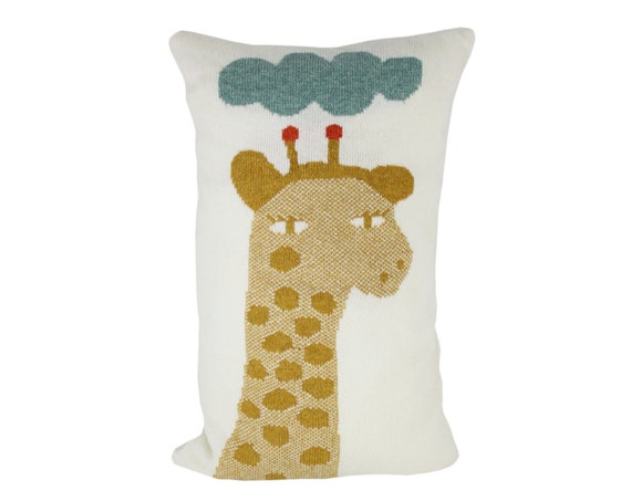 Gina the Giraffe - soft knitted pillow - 12x24, includes insert