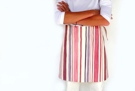 Apron  - Pink to violet stripes - kitchen accessories