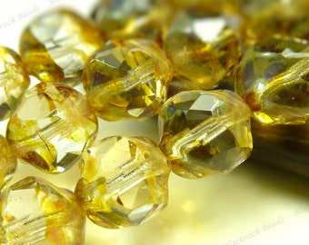 8mm Crystal Picasso Czech Glass Beads - 15pc Strand - Faceted Baroque, Central Cut - BE41