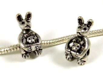 3 Beads - Kangaroo Baby Animal Safari Silver European Charm Bead E0867