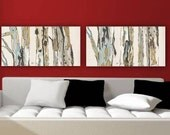 Extra LARGE Wall art Diptych Very large canvas Print set trees landscape artwork pastels white living room bedroom office home decor giclee