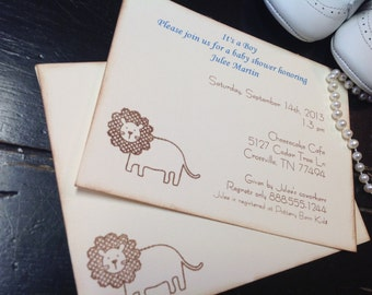 Baby shower Invitation-Baby lion shower invitations-custom invitations-Lion invitations- first birthday party invitations