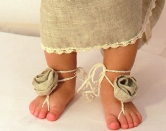 Flower rosy barefoot sandals , organic linrn sandals, baby, toddler, girl, bridal, birthday