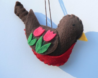 Felt Bird Ornament - Felt Robin Ornament