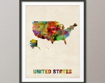 United States Watercolor Map, USA, Art Print (447)