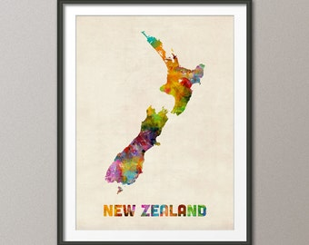 New Zealand Watercolor Map, Art Print (450)