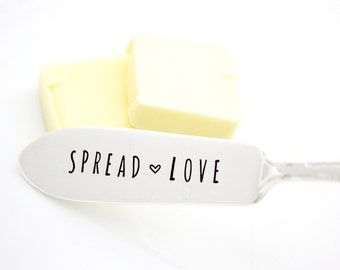 Spread Love hand stamped spreader for your holiday table decor or unique hostess gift.