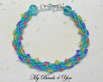 Beaded Bracelet, Beadwoven Bracelet, Embellished Bracelet,Turquoise Bracelet, Beaded Rope Bracelet, Turquoise Jewelry, Beads,Peyote Bracelet