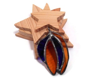 Stained Glass Pendant Jewelry  Amber and Blue Shards  Handmade Glass Jewelry  Glass and Metal Jewelry Pendant   Blue Amber Handmade Necklace