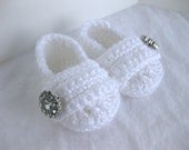 Baby Girl Infant Shoes / Slippers / Booties - White & Jewel - YOUR choice size - (newborn - 12 months) - photo prop - clothing