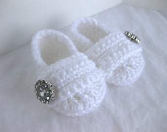 Baby Girl, Infant Shoes, Slippers, Booties, White, Church Shoes, Baby Christening, LDS Baby Blessing, Baby Shower, Gift, Baptism