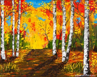 Fall Birch Tree Painting Aspen Trees Dirt Road Forest Palette Knife