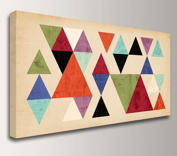 "Loft Art - Geometric Art - Panorama - Mid Century Modern Art , Wall Art, Canvas Print - Colorful Triangles on Tan - Wall Decor - "" Tangent """