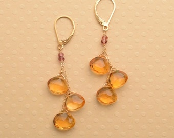 citrine earrings, november birthstone earrings, long dangle earrings, golden yellow earrings, november birthday gift, citrine jewelry