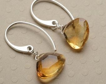 November Birthstone Earrings, Citrine Earrings, Golden Yellow Gemstone Earrings, Healing Gemstone Jewelry
