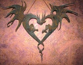 Romance Dragons Heart Shaped Garden Art Rusty Recycled Metal by Fountain Family Artists