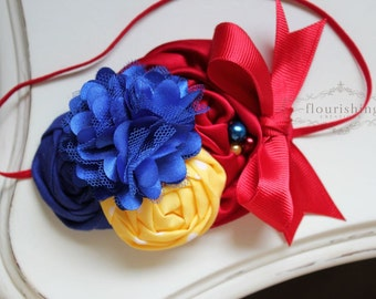 Snow White Inspired headband,  red headbands, royal blue headbands, headbands, newborn headbands, photography prop