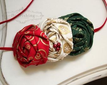 Holly Jolly- Red, Cream and Green headband, christmas headbands, newborn headbands, red headbands, photography prop, gold holiday headbands