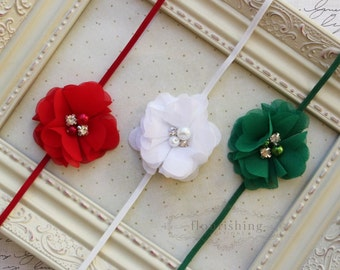 Headband Set of 3- Red, Green and White, petite headband, newborn headbands, red headbands, photography prop, holiday headbands