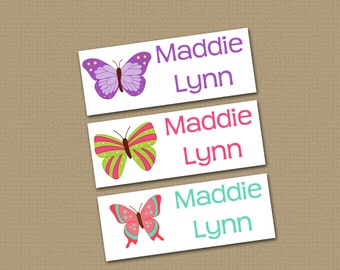 Personalized Waterproof Label Stickers - Butterflies - Perfect for Bottles, Sippy Cups, Daycare, School - Dishwasher Safe