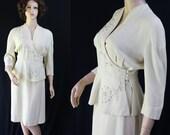 40s Suit / Art Deco / Nipped Waist / Cream / Wool / Vintage Wedding / Junior Guild