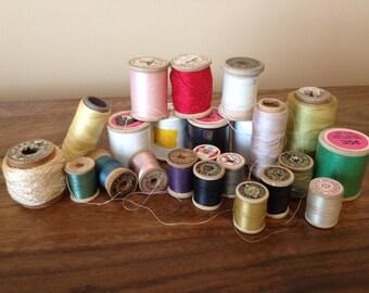 Lot of 23 Spools of Vintage Sewing Thread, Many Wood Spools