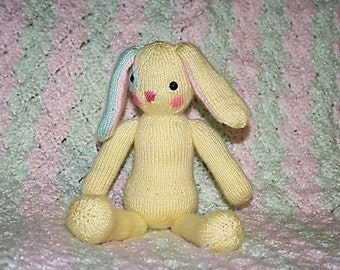 Knitted Bunny Rabbit Doll - Soft Baby Pastel Colors - Yellow Pink and Mint Green