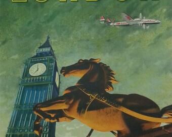 Original TWA travel poster Fly TWA Direct to London by Bob Smith 1950's