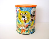 Vintage Coffee Can with Jungle Theme - 60s/ 70s Lion, Elephant, Monkeys, Hippo, Tiger, Turtle, Panda, and Flamingo in a Jungle Setting