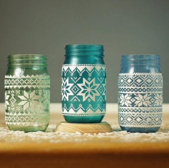 Items similar to christmas sweater mason jars hand for Christmas glass jars