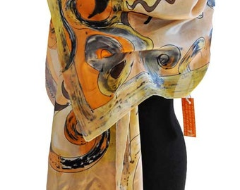 Hand painted silk csarf/Beige Yellow silk scarf/Woman accessory/Painting on Silk/Beige Hand painting scarf/Woman luxurygift/long scarf/S0071